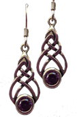 Celtic Knot Earrings with Amethyst Stone