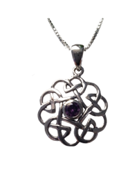 Dainty Celtic Knot Pendant with Amethyst Stone