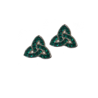 Trinity Knot Studs with Green CZ Stones