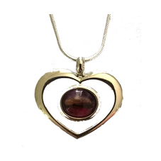 Heathergem Heart Pendant - Red & Green Mix in Stock