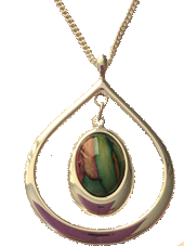 Teardrop Heathergem Pendant- Red & Green Mix in St6ock
