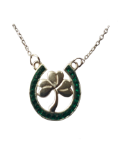 Lucky Horseshoe and Shamrock Pendant