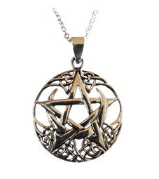Large Pentagram and Crescent Moon Pendant