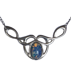 Celtic Know Necklace with Manufactured Opal