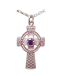 Celtic Cross with Amethyst or Green Stone