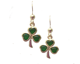 Shamrock Earrings with Green Stone