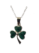 Shamrock Pendant with Green CZ Stones