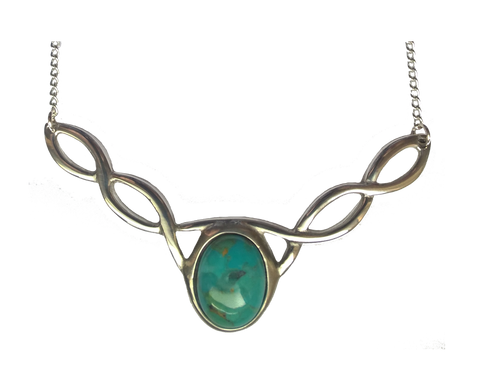 Celtic Knot Necklace with Stone (Turquoise in Stock)
