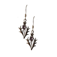 Scottish Thistle Earrings with Purple Stone