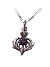 Scottish Thistle Pendant with Stone