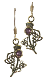 Thistle and Amethyst Earrings