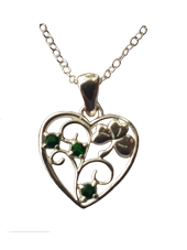 Irish Heart with Shamrock Pendant