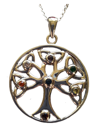 Tree of Life - Pendant with Chakra Stones