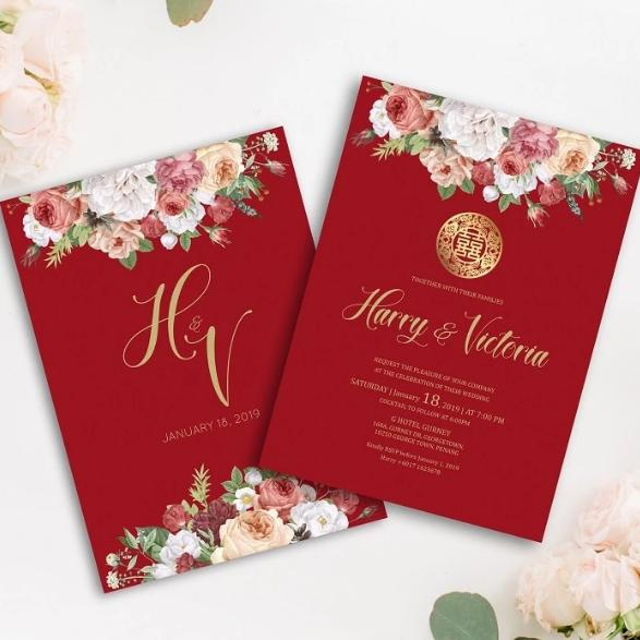 burgundy floral chinese bilingual wedding invitation card malaysia