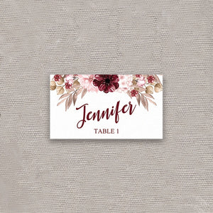 Burgundy Happiness Place Card