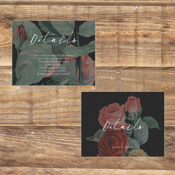 English Roses RSVP / Info Card