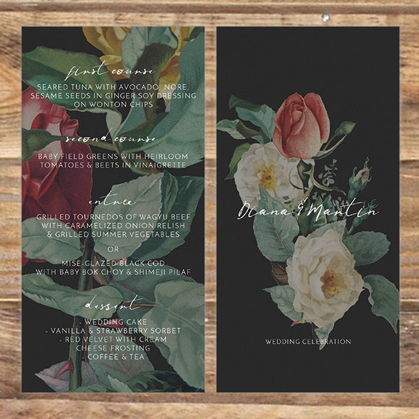 English Roses Menu Card