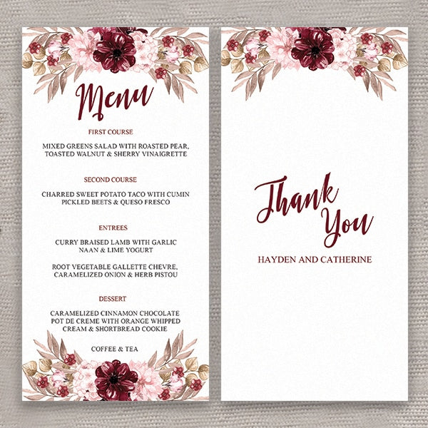 Burgundy Happiness Menu Card
