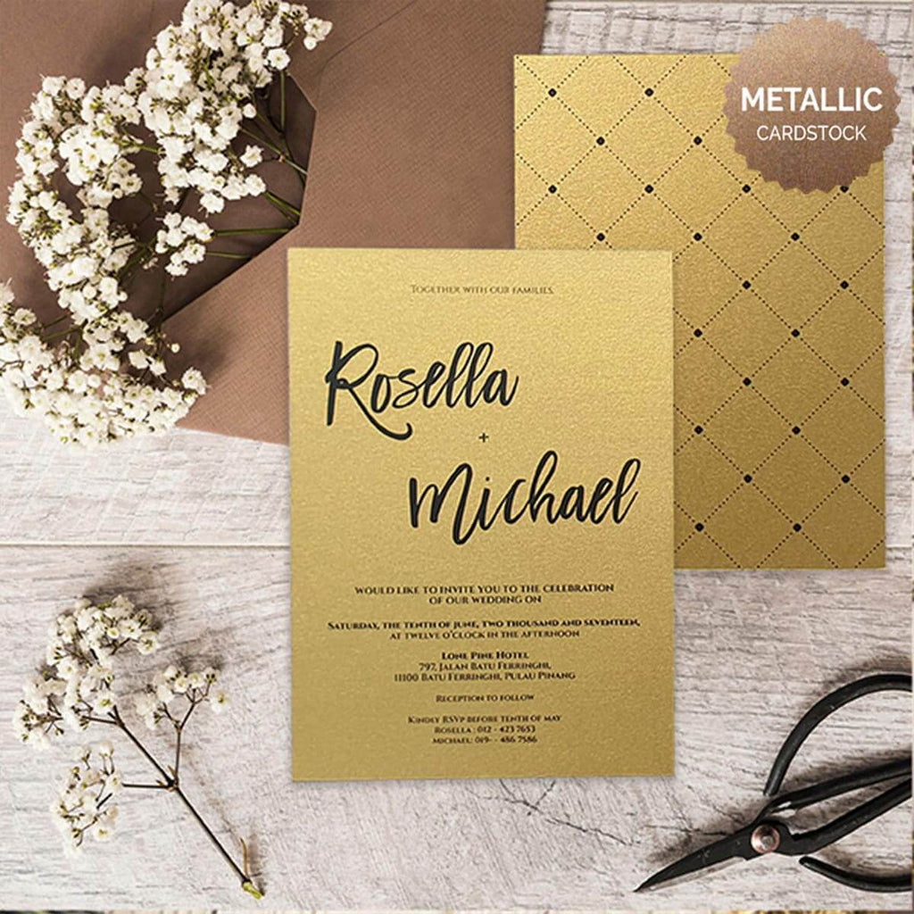 minimalist royal II,metallic wedding invitation