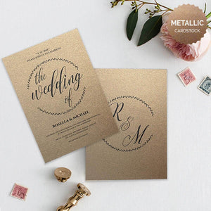 minimalist royal I,metallic wedding invitation