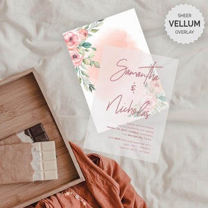 Floral peach watercolor vellum wedding invitation malaysia