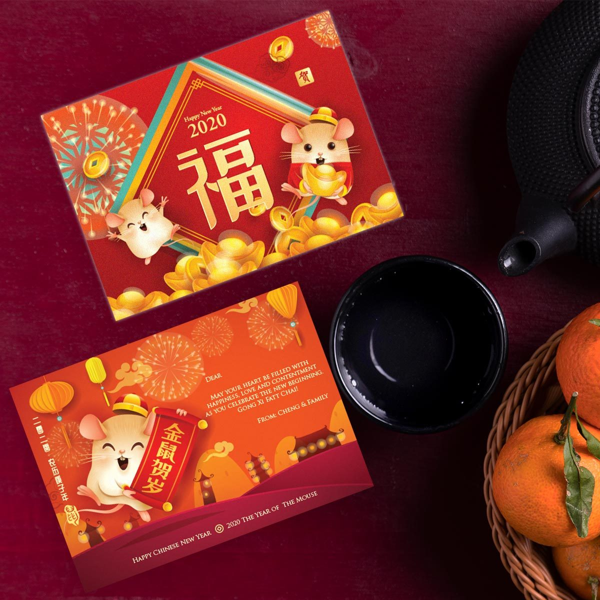 2020 Cute Mouse - Personalize Modern Chinese New Year Greeting Cards