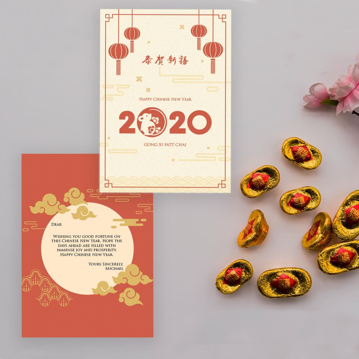 Buy 2020 Year Of Mouse Personalize Modern Chinese New Year Greeting Card Online 2020