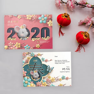 Colorful Year Of Mouse - Modern Personalize Chinese New Year Greeting Cards