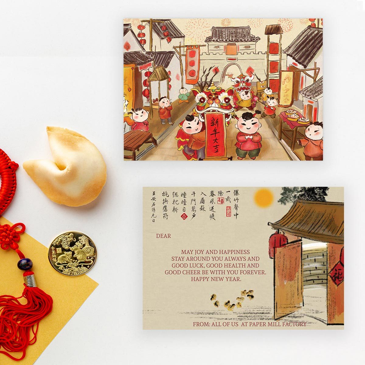Happening Year - Chinese Art Modern Chinese New Year Greeting Card