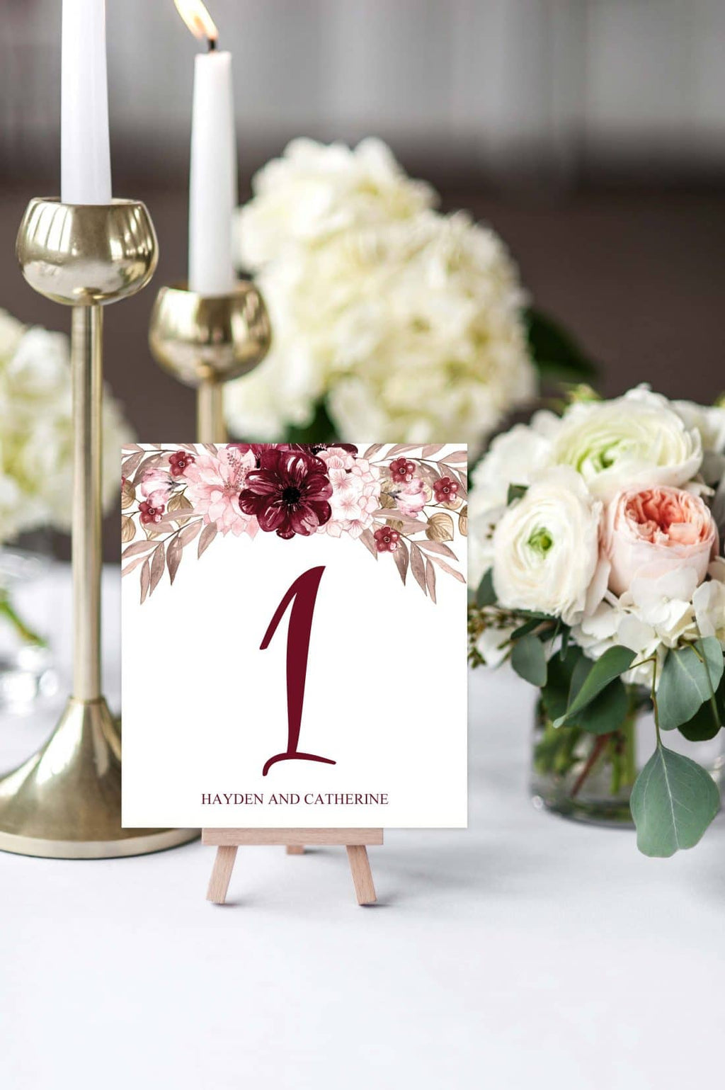 Burgundy Happiness Table Number