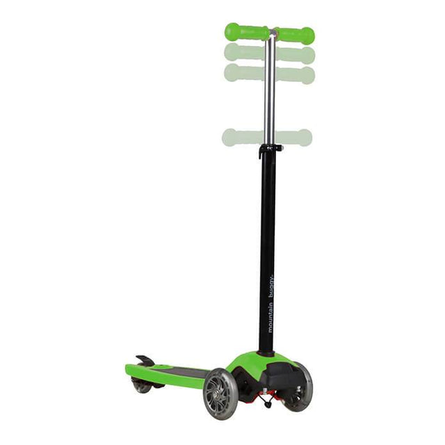 mountain buggy freerider scooter in lime green colour has an adjustable handle bar_lime