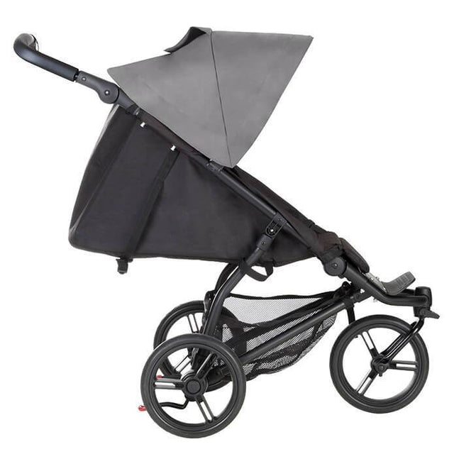 Mountain Buggy mini stroller in silver colour in lie flat mode side view_silver
