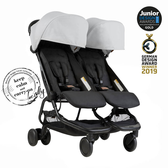Mountain Buggy nano duo double lightweight buggy is a Junior Design and German Design award winner in colour silver_silver