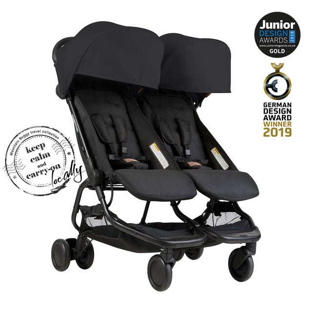 Mountain Buggy nano duo double lightweight buggy is a Junior Design and German Design award winner in colour black_black