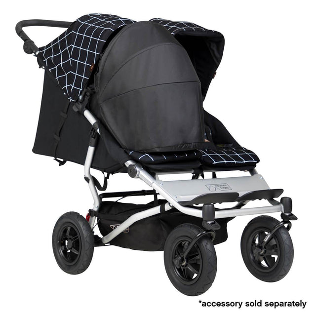 Mountain Buggy duet double buggy fitted with one newborn cocoon in colour grid_grid