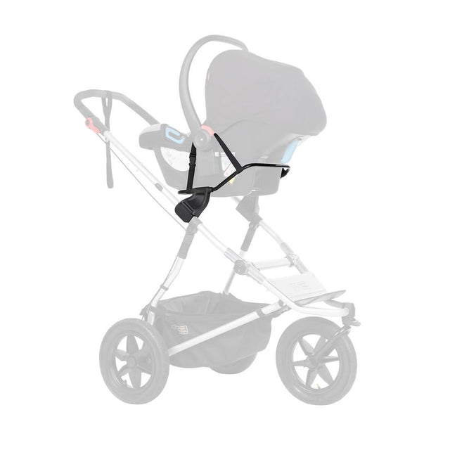Mountain Buggy universal car seat adaptor shown attached to frame with infant car seat attached securely colour default_default