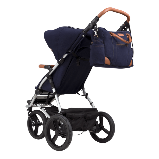Mountain Buggy luxury collection satchel bag attached to urban jungle luxury stroller in colour nautical _nautical
