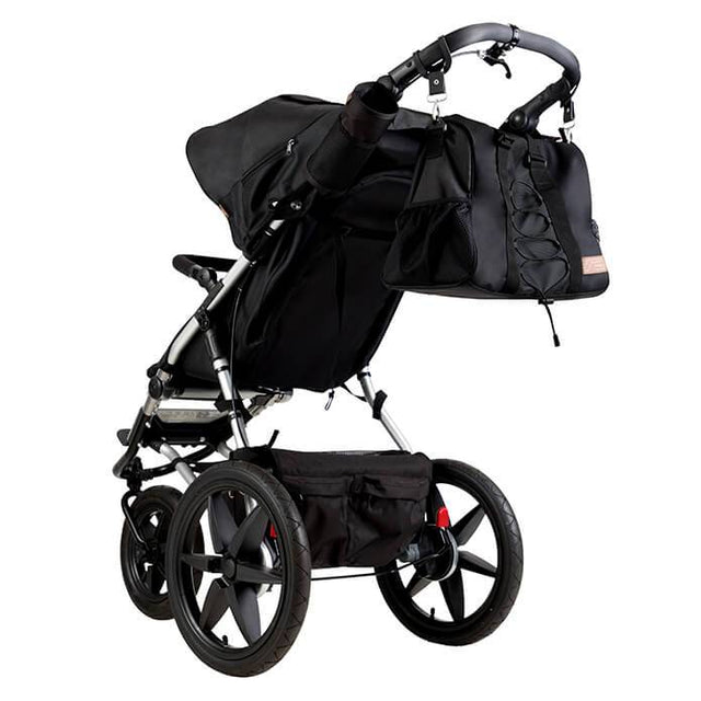 Mountain Buggy terrain stroller in onyx black colour with matching onyx black coloured satchel_onyx