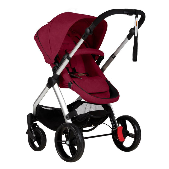 Mountain Buggy cosmopolitan 4 wheel modular buggy in parent facing seat mode in colour bordeaux_bordeaux