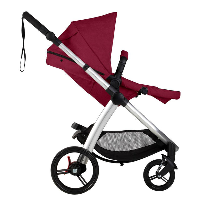 Mountain Buggy cosmopolitan 4 wheel modular buggy in with main seat reclined in colour bordeaux_bordeaux