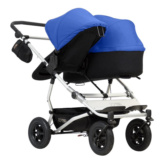 mountain buggy duet double buggy with one 2018 carrycot plus in parent facing mode 3/4 view shown in color marine_marine