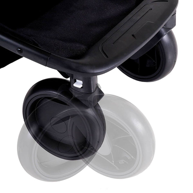 Mountain Buggy nano front wheels showing swivel function in colour black_black