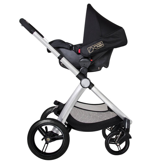 Mountain Buggy pre-2017 cosmopolitan buggy with protect car seat side view_stone