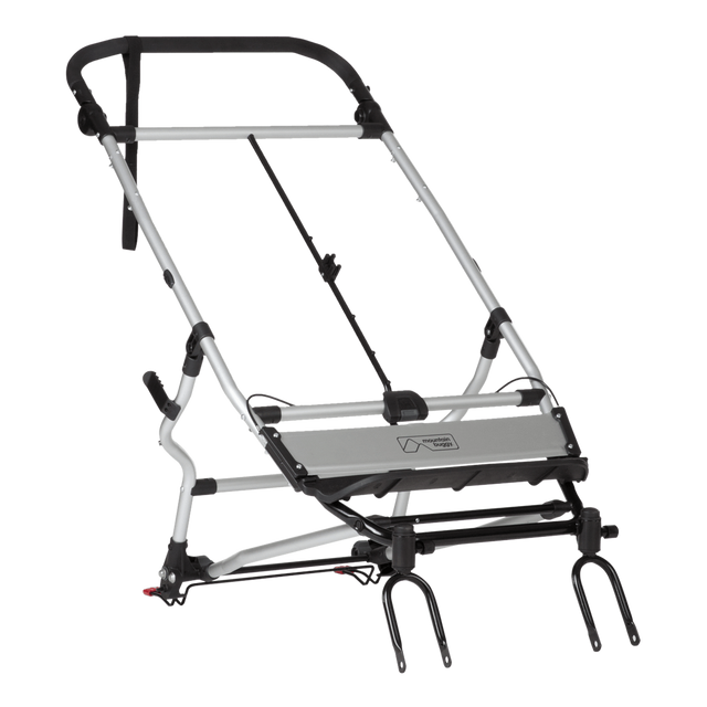 Mountain Buggy replacement duet buggy version 2.5 silver coloured frame shown with included handle an pre installed brake parts in black_black