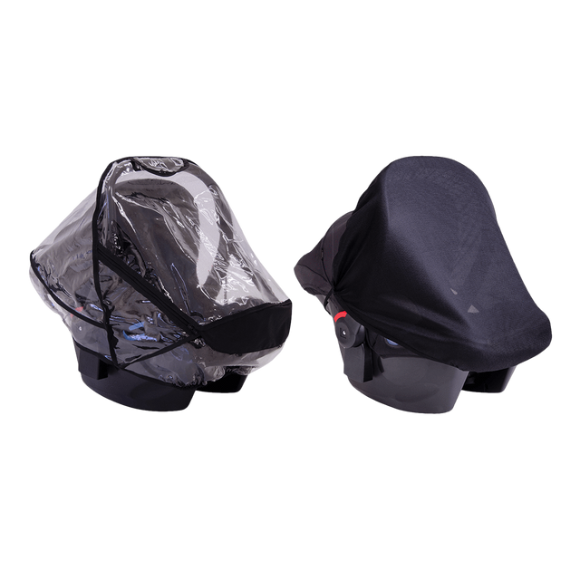 Mountain Buggy infant cat seat cover set showing both included sun mesh and storm covers colour default_default