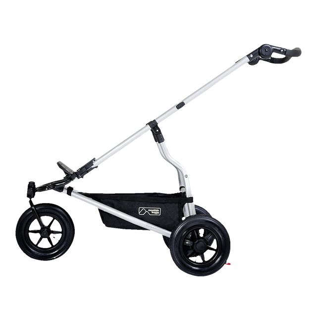 Mountain Buggy lagacy swift buggy frame shown side on with additional wheels in black_black