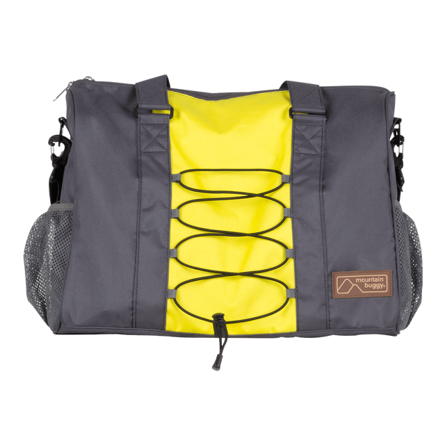 Mountain Buggy front view of parenting bag designed to match the terrain buggy in colour yellow and slate grey solus_solus