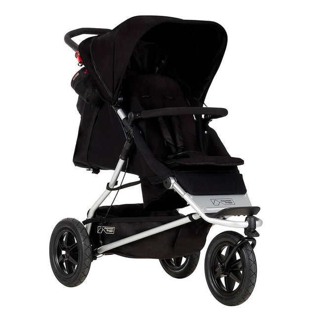 Mountain Buggy +one stroller in black colour with newborn seat attached in rear_black