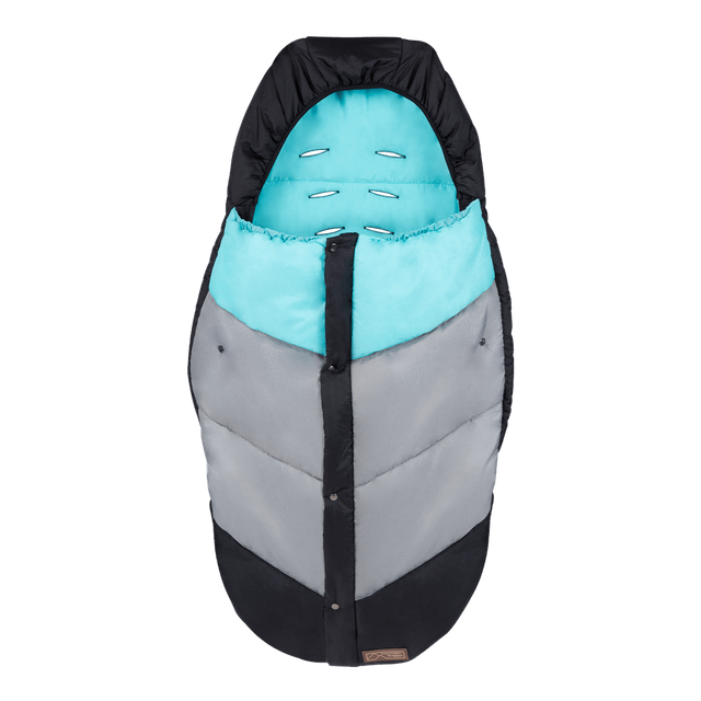 Mountain Buggy durable soft peach lined sleeping bag in colour ocean_ocean