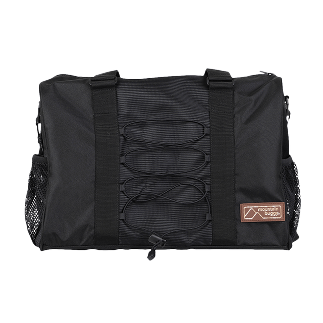 Mountain Buggy front view of parenting bag in colour black oynx_onyx